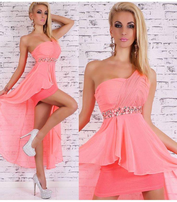 Ασύμμετρο φόρεμα με ένα ώμο-κοραλί