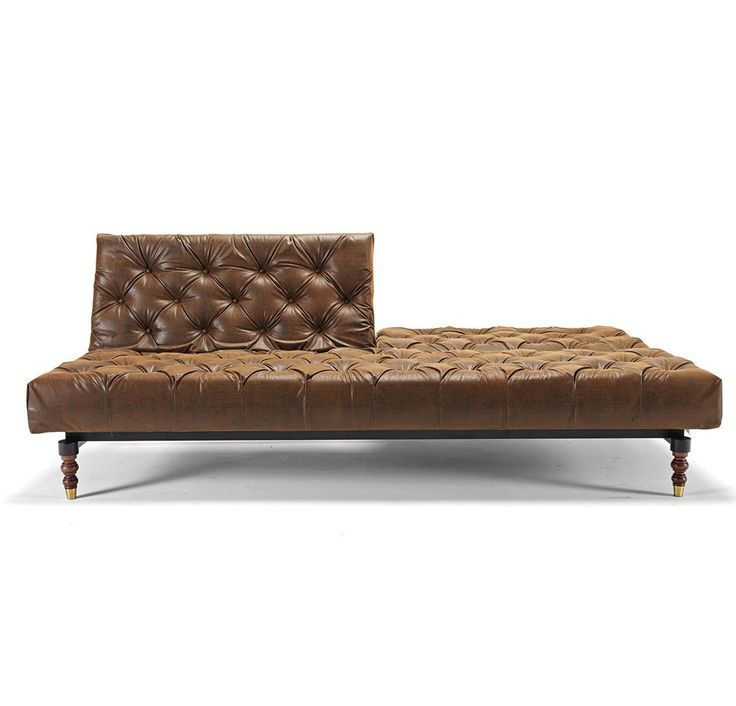 Oldschool Leather Chesterfield Sofa Bed Retro Legs
