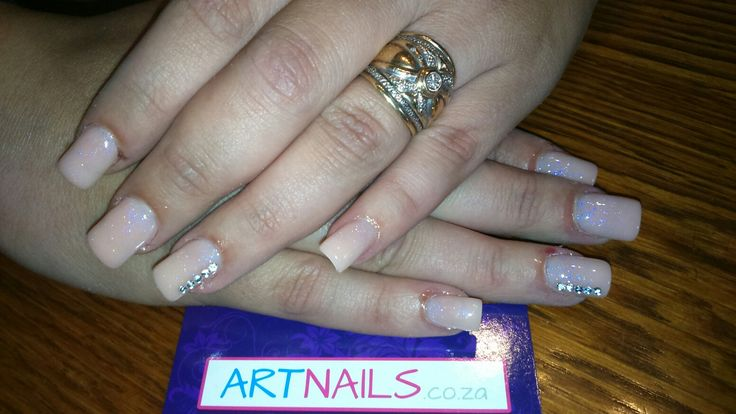 Nude and glitter ombre acrylic nails with rhinestones I did for client
