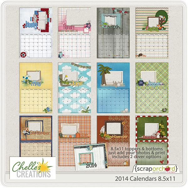 2014 calendars 8 5x11 quick easy digital scrapbooking christmas gift
