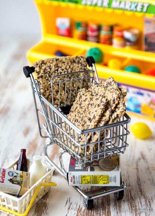 Seesamnäkkäri  Rapea ja terveellinen snack on helppo valmistaa. Lisäksi se on gluteeniton, maidoton ja liivatteeton.