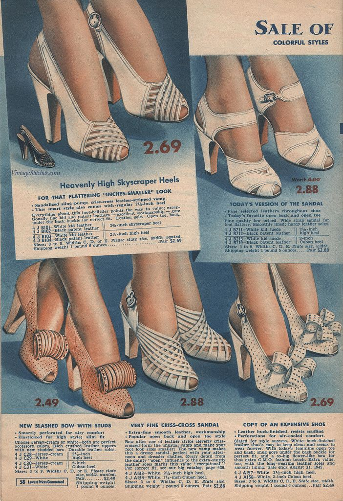 Ladies' Shoes   Summer 1942 Sale Chicago Mail Order Company   VintageStitches.com