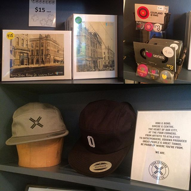 Have you visited the Museum Shop recently? Buttons from @rmgoshawa, hats from @fourcornerssupplyco, and our own Downtown #Oshawa puzzles. #OurOshawa is in Our Shop! #oshawamuseum #museumshop #shoplocal