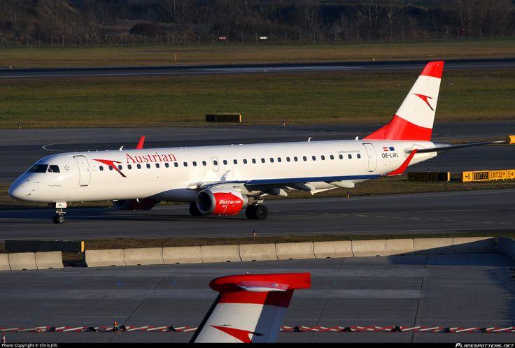 Austrian Airlines Embraer ERJ-195LR (ERJ-190-200 LR) OE-LWL aircraft, named ''City of Prague'', skating at Austria Vienna Schwechat International Airport. 20/11/2016.