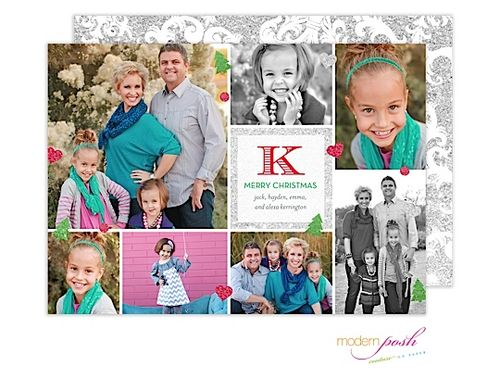 Perfect for lots of photos! Modern Posh Sparkle Monogram Holiday Digital Photo Card