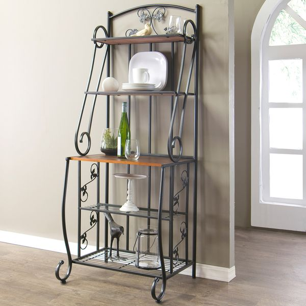 Pomona High Wood and Metal Transitional Baker's Rack