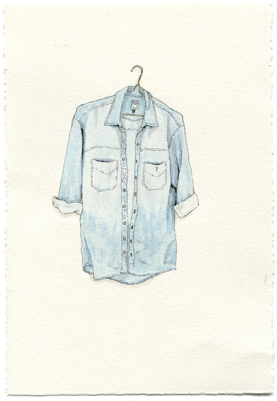 Long Sleeve Faded Jean Shirt van ephemerafriends op Etsy, $80.00