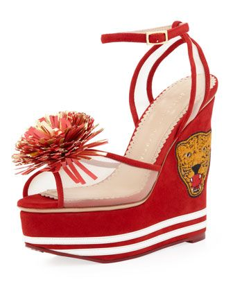 Team Spirit Varsity Suede Wedge Sandal, Cherry by Charlotte Olympia at Neiman Marcus.