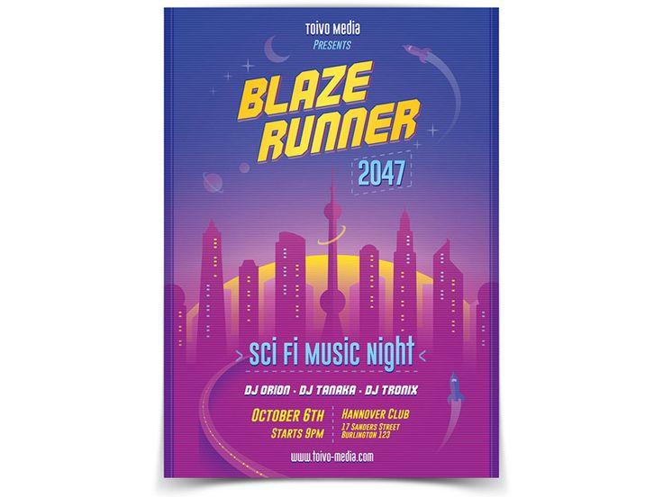 Blaze Runner Flyer Template - buy it here: https://graphicriver.net/item/futuristic-city-flyer/20498175