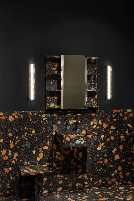 Max Lamb installs multicoloured manmade-marble bathroom at Design/Miami Basel 2015.