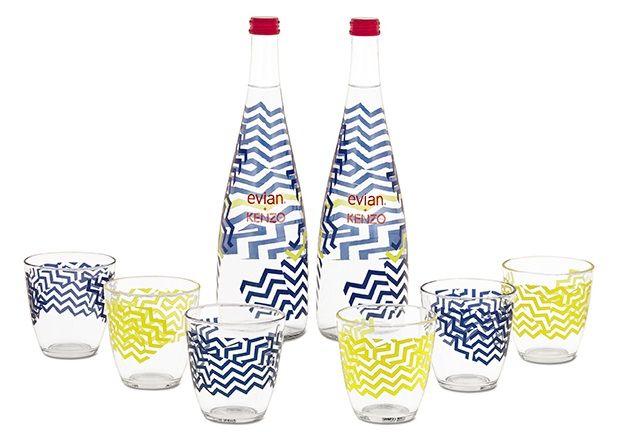 verres + bouteilles evian + KENZO