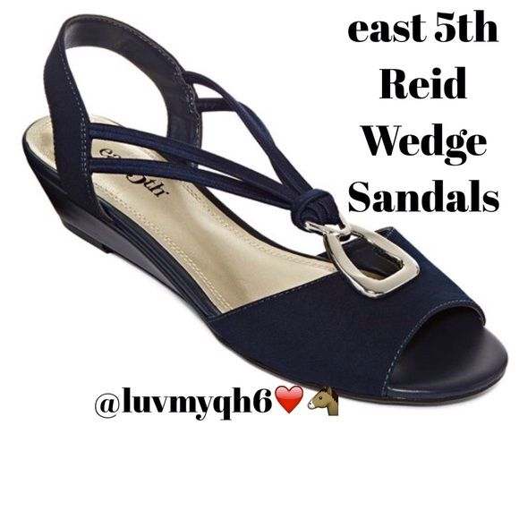 """East 5th REID Navy Blue Sandals east 5th Reid Wedge Sandals. A little heel and a lot of style is exactly what makes these sandals perfect for cool impressions from top to bottom, Silver embellished upper, polyurethane lining 1¼"""" heel, molded and wrapped heel, rubber outsole size 7.5 medium width, Color Navy Blue  Note: I can't wear these due to a right ankle fusion. No more heals for me!!! New still in box. Shoes Sandals"""