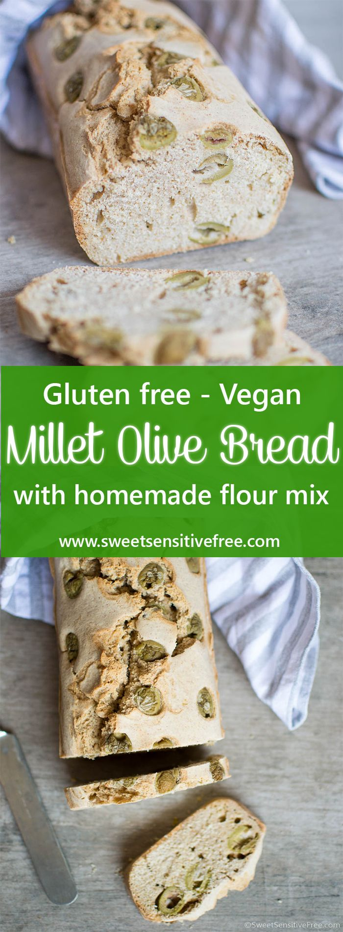 Gluten free, vegan millet olive bread loaf, made with a homemade gluten free flour blend! Just great either freshly baked or toasted to make bruschette!