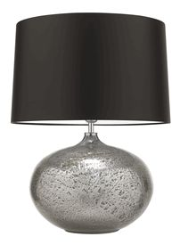 "Hotel Lighting Collection: 23"" Tall Contemporary Metallic Glass Sphere Accent Lamp * Volcanic Silver * 100 Custom Shade Options"