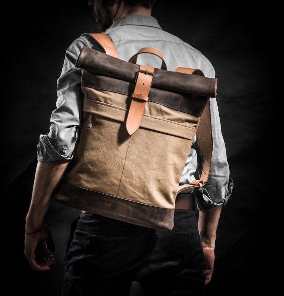 Lona y cuero mochila mochila superior rollo por Kruk garaje hecho de británicos…