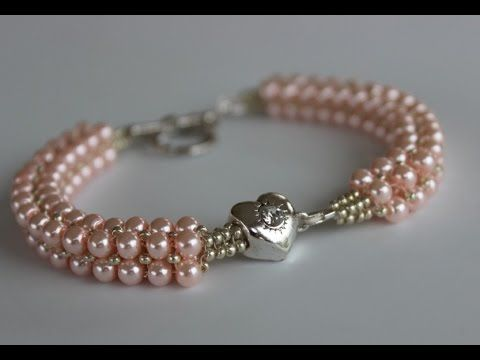 Beaded Bracelet with glass pearls and metal bead Браслет из жемчуга и металлическим камнем - YouTube