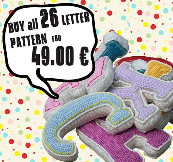 PDF... ***This listing is for the crochet pattern only. Finished letters are not included!***  With this large 3D letters create unique art/ home