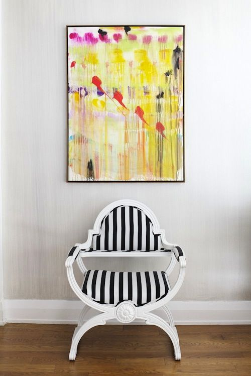paintingDecor, Bright Art, Black And White, Interiors, Cleaning Design, Black White, Stripes Chairs, White Wall, Bright Colors