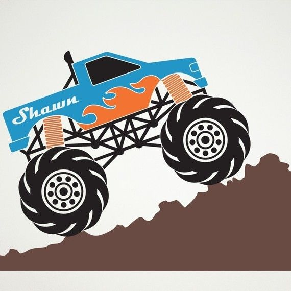 monster truck wall decal personalized name kids room decor removable vinyl sticker truck theme boy transportation art