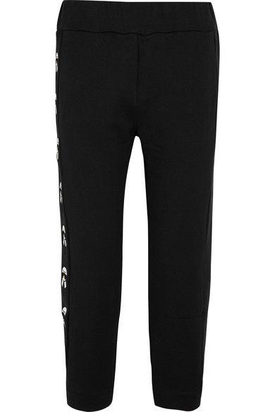 Fendi - Karlito Embroidered Printed Cotton-jersey Track Pants - Black - IT46