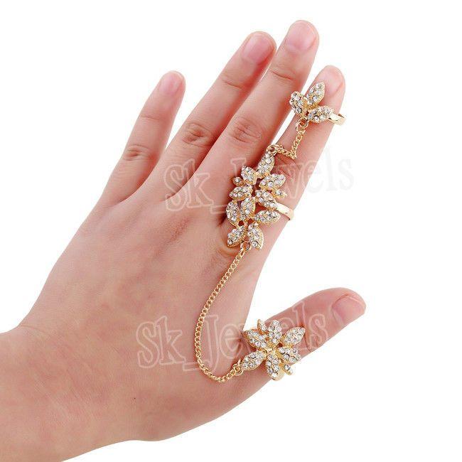 3.80CT NATURAL DIAMOND 14K YELLOW GOLD ENGAGEMENT FULL FINGER WITH THUMB RING  #SkBridalJewels #CocktailRing