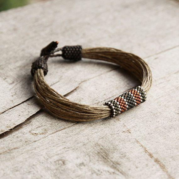 Organic men's bracelet Linen bracelet for men by Naryajewelry, $27.00