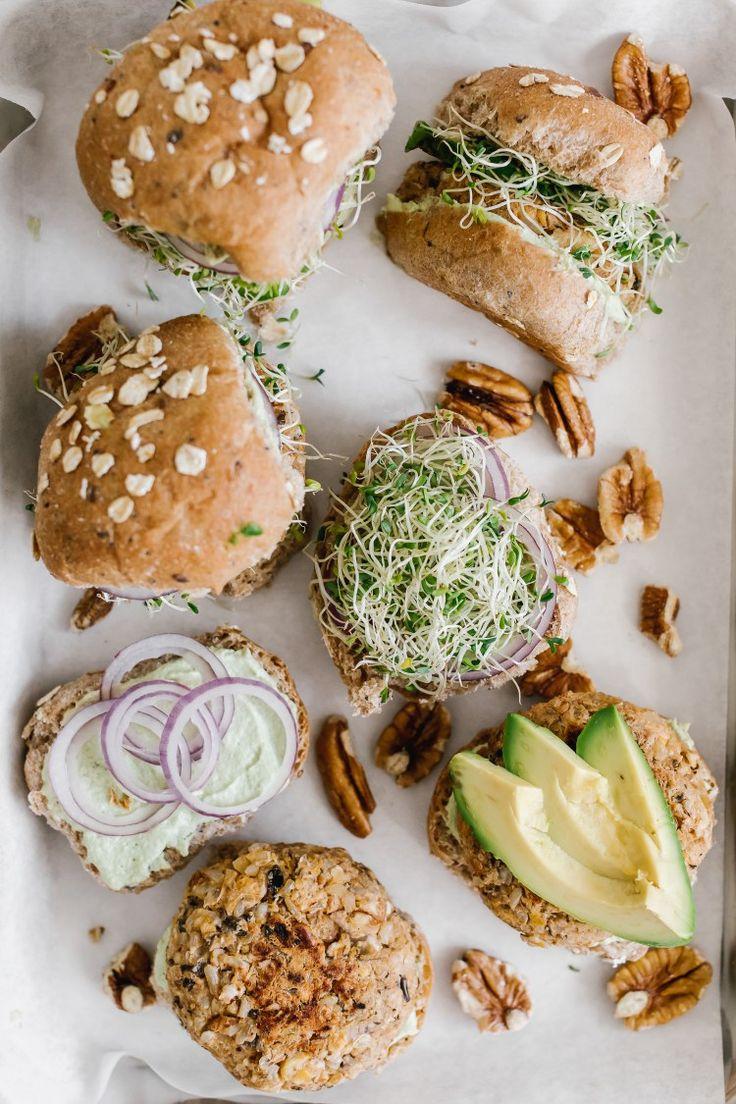 Wild Rice Pecan Burgers + Creamy Sunflower Chive Spread