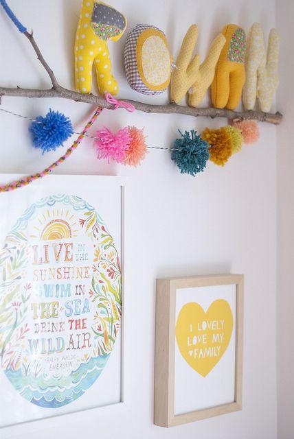 Children's room - Stuffed letters on branch - Jen Loves Kev