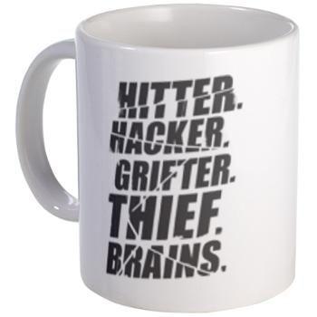 Leverage Team Jobs Mug:  Hitter Hacker Grifter Thief Brains