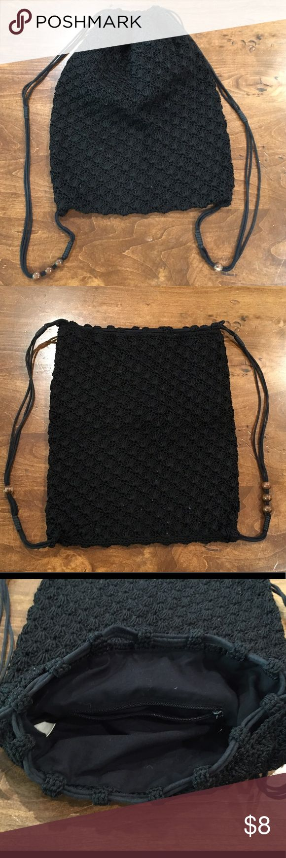 Black backpack sack crochet with straps Cute black crocheted draw string backpack. Old Navy Bags Backpacks