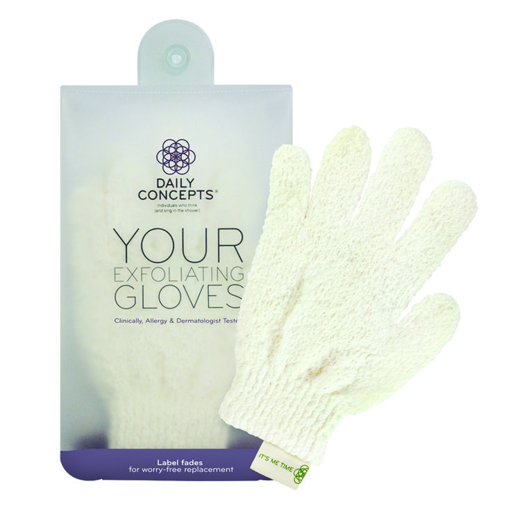 Daily Concepts Your Exfoliating Gloves: Firm texture deeply exfoliates skin during a bath or shower. Label with indicator that fades when…