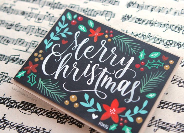 Brush lettering and handpainted Christmas card with gouache + Printables to make your own cards. DIY Crafts Video tutorial