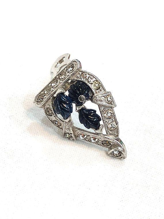 976b61c578b Small Silver Art Deco Dress Clip, Blue Glass Leaves Flowers, Clear  Rhinestones, Patent No. 1852188, Bridesmaid Gift Wedding, Vintage Jewelry