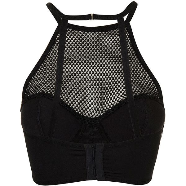 TOPSHOP High Neck Fishnet Stud Corset (100 BRL) ❤ liked on Polyvore featuring tops, shirts, corsets, crop tops, underwear, black, high neckline crop top, high neck crop top, fishnet top and studded shirt