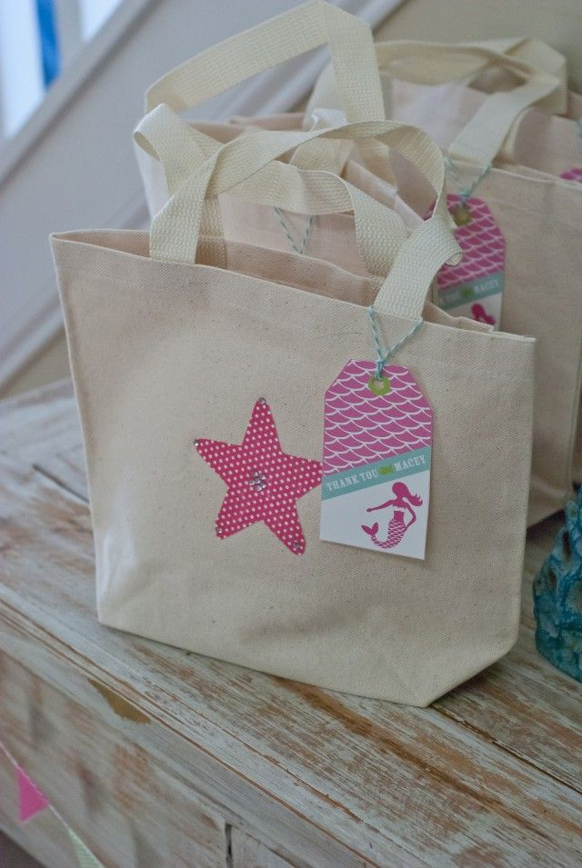 under the sea / mermaid party: beach or tote bags make cute party favors