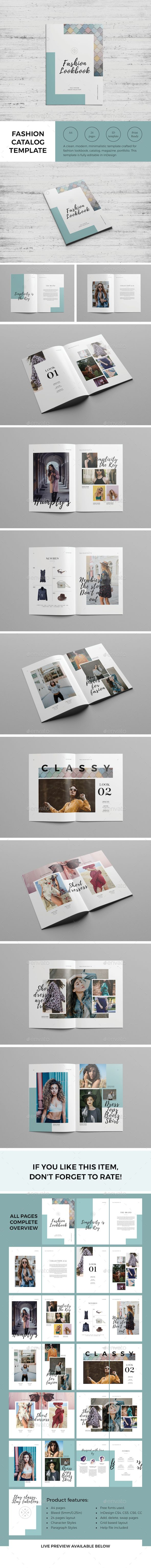 Fashion Catalog / Lookbook Template InDesign INDD - 24 Pages A4 + US Letter Size