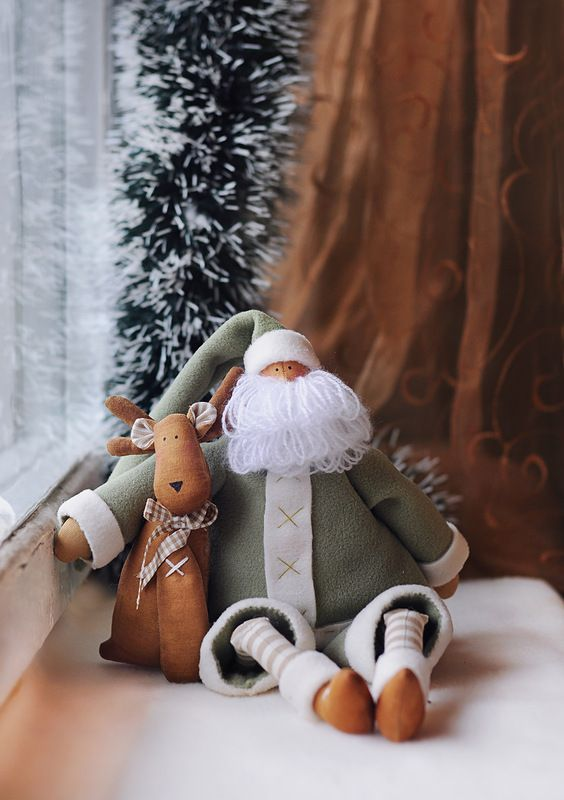 Cute Santa with Reindeer, love the green colour!