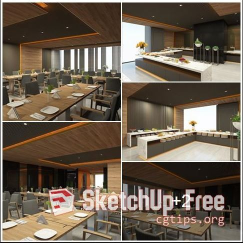 1678 Interior Restaurant Scene Sketchup Model Free Download