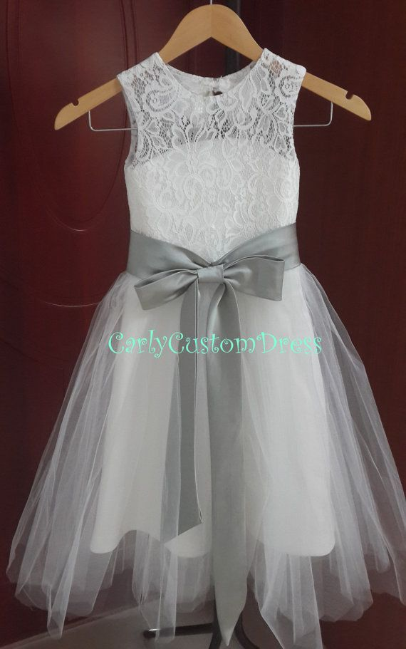 Grey Sash Lace Ivory Flower Girl Dress Wedding Baby Dress 2014 could be with blue knot around the waist