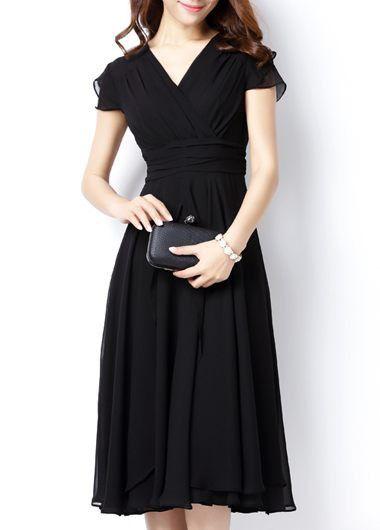 Black High Waist Cap Sleeve V Neck Dress | modlily.com - USD $30.58