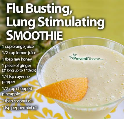 Flu Busting, Lung Stimulating Smoothie - you can also add kiwi to this to give it an even bigger vit c punch
