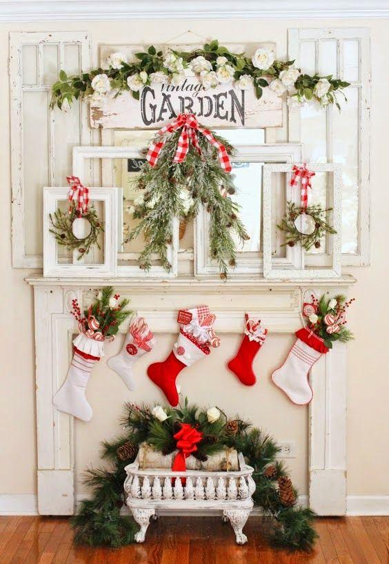 Farmhouse Christmas Mantel -Junk Chic Cottage-How I Found My Style Sundays Christmas Edition- From My Front Porch To Yours