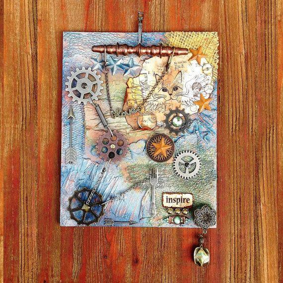 WALL ART – Steampunk wall art, Mixed media wall art, Altered assemblage art, Steampunk grunge decor, Steampunk glam wall art, Altered art