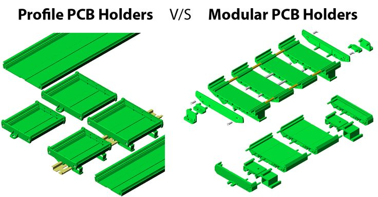 Comparative study between Profile PCB Holders V/S Modular PCB Holders : Profile PCB Holders has no restriction on length of holders as it can be cut to any length. Modular PCB Holder cannot be used for custom length. Profile PCB Holder has more strength as the support is in single piece where as modular has many pieces. Modular PCB Holders are suitable for small production lot. Profile PCB Holders needs cutting so there is some minimum quantity requirement.