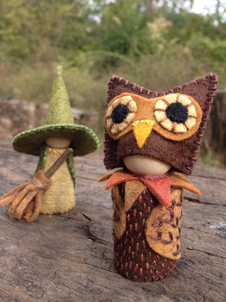 Halloween gnomes, Waldorf inspired natural storytelling dolls- owl and witch! by #SandStormsArt