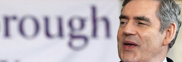 Gordon Brown chatted to students at Loughborough University. Incredibly Awkward Pictures Of Politicians Standing In Front Of Unfortunate Signs