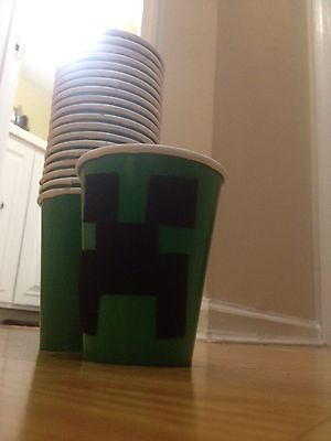 20 Total! Minecraft party cups set Birthday Party CREEPER!!