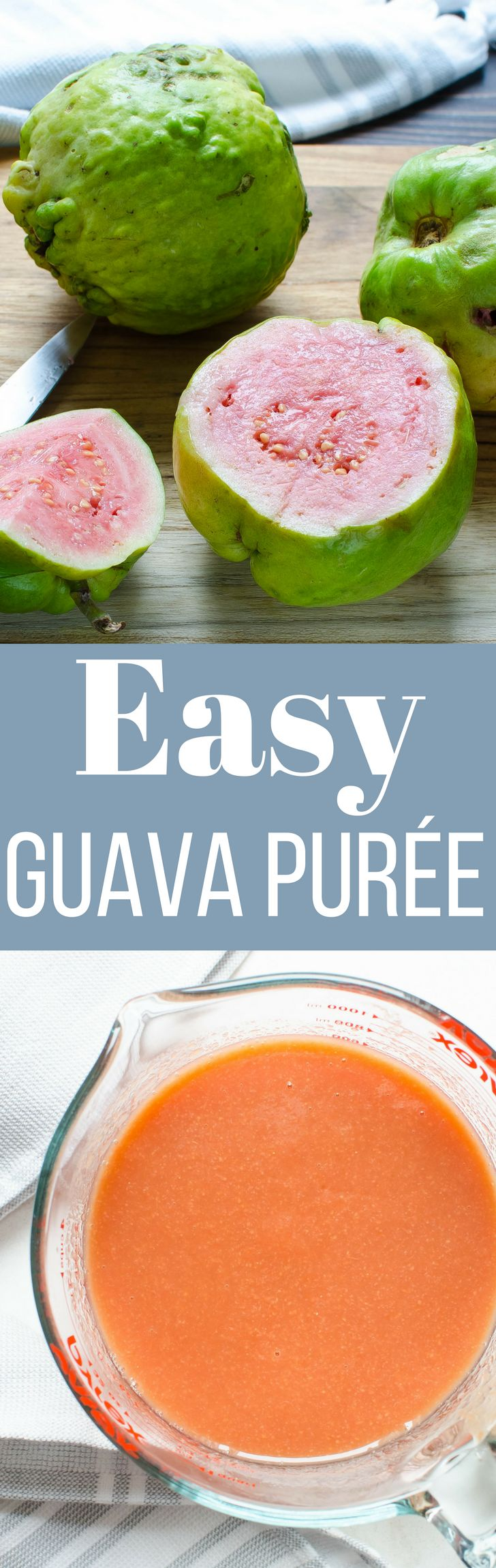 Need a recipe for Easy Guava Purée? Look no further! This smooth, luscious tropical puree is ideal in yogurt, blended in smoothies & shaken in cocktails!