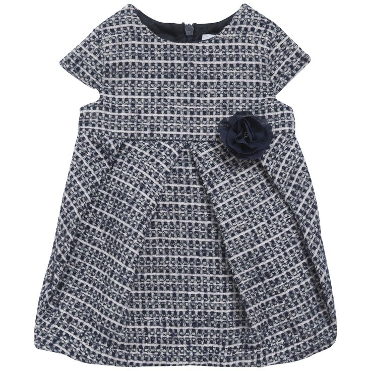 Woolen dress embellished with a Navy blue flower on the side #outfit #FW15 #fall #winter #babyfashion
