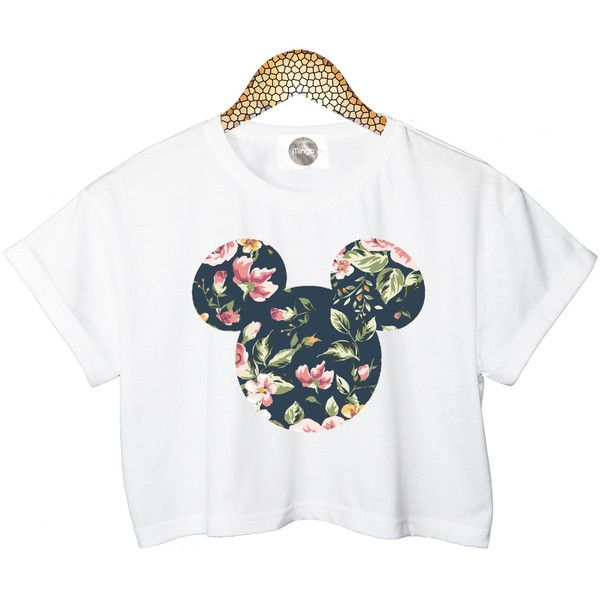 FLORAL MICKEY crop TOP head mouse cropped tshirt womens ladies fashion... ($24) ❤ liked on Polyvore featuring tops, t-shirts, shirts, crop tops, floral shirt, t shirts, floral t shirt, white t shirt and cotton t shirt